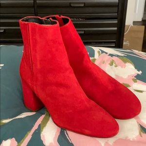 Brand new never worn red suede booties !